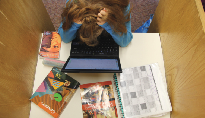 """Midterm exams can cause stress to pile up fast, but they do have their benefits. """"If there's not a midterm, it creates a lot of stress for the end of year exam,"""" Upper School history teacher Nan Dreher said."""