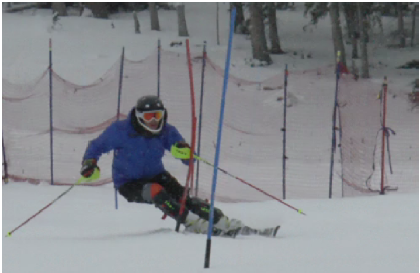 """Freshman John Soranno trains at Echo Mountain Park, Colorado. """"My favorite thing about skiing is the feeling [going down slopes] in a course and feeling all the things that I have been working on in skiing over the past year come together,"""" Soranno said."""