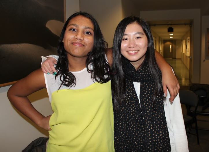Freshmen Amodhya Samarakoon and Stephanie Li smile for a picture before their first science bowl competition.