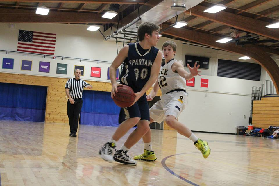 Sophomore Michael O'Shea tries to get the ball past a member of the opposing team.