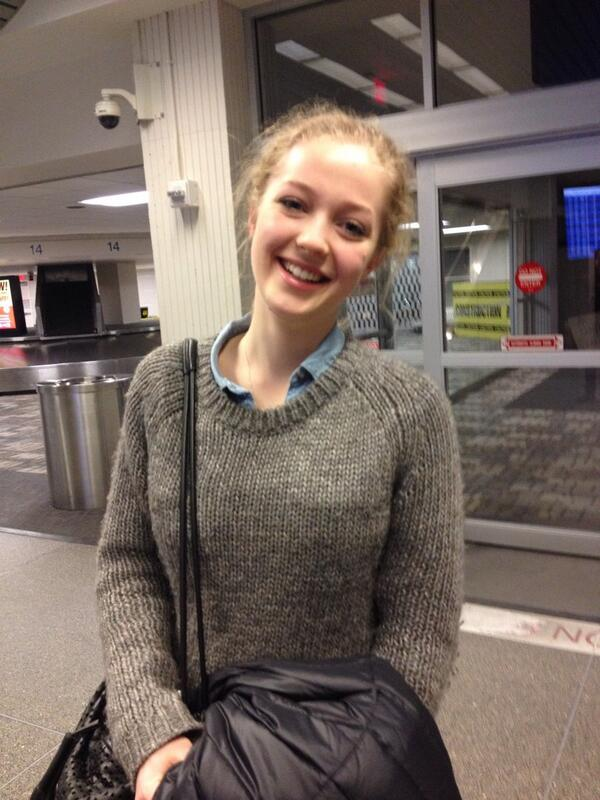Lotta Bublitz, who had studied at St. Paul Academy and Summit School during her junior year, steps out to meet friends at the Minneapolis-St. Paul International Airport upon her arrival.