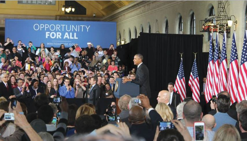 """President Barack Obama spoke about  public trasporation and infrastructure in the United States during his recent visit to St. Paul's newly restored Union Depot on Feb. 26.  """"We've got a lot more roads we got to travel. Let's get going, Minnesota,"""" Obama said."""