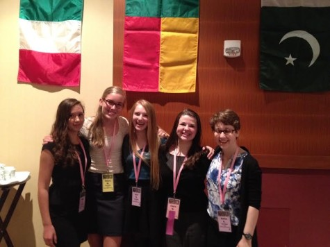Model United Nations participants sophomore Nina Zietlow, freshman Moira McCarthy, sophomore Lexi Hilton, sophomore Claire Walsh, and sophomore Netta Kaplan represent the country of Benin at the conference held on Mar. 27-29 at the Minneapolis Marriott City Center.