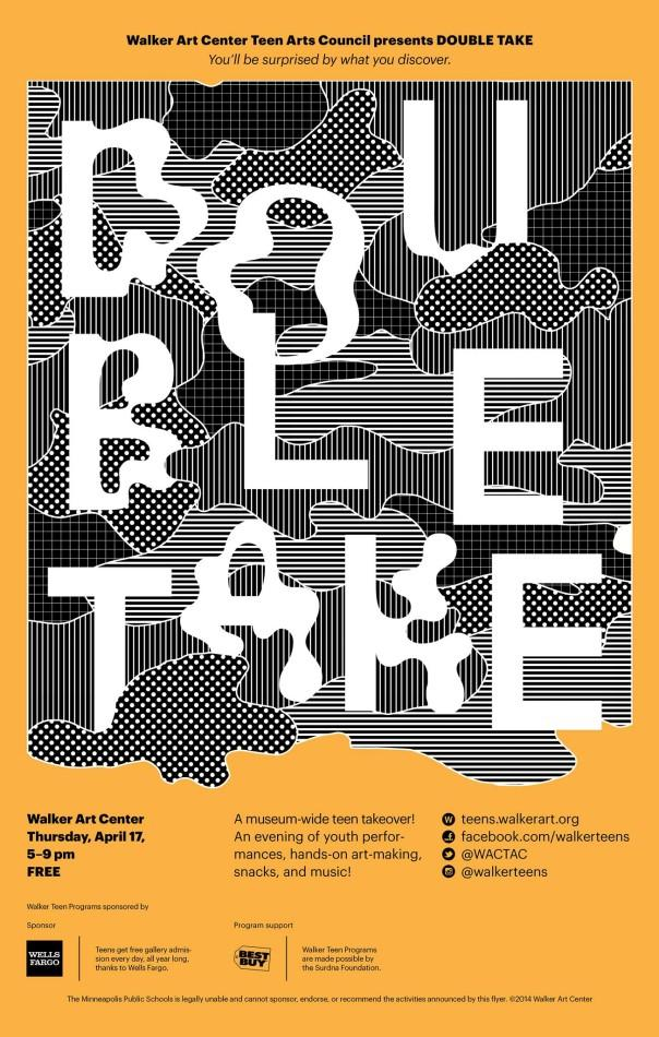 A promotional poster for Teen Takeover: Double Take, an upcoming event at the Walker Art Center, invites teens to take part in creative activities.
