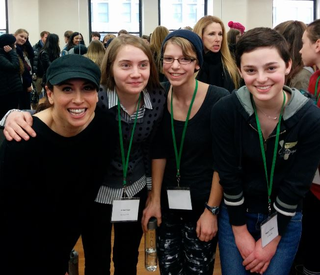 Sophomores Anna Biggs, Maren Findlay, and Maggie Vlietstra pose for a picture at the Broadway Student Summit.