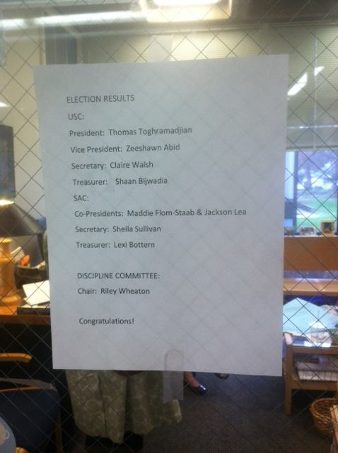 Election results were posted outside Dean Judy Cummins's office on April 23.