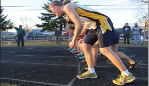 Sophomore Shaymus O'Brien prepares to run at the starting line in the first track meet of the season April 8 at Corcordia Academy.