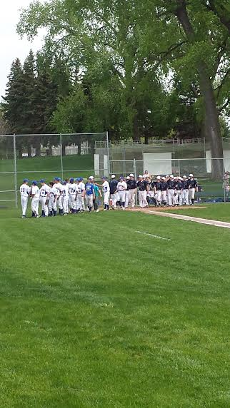 The teams shake hands after the game. Defensively we were solid all the way through, our pitching couldn't have been better, but we weren't hitting the ball as well as we could have,