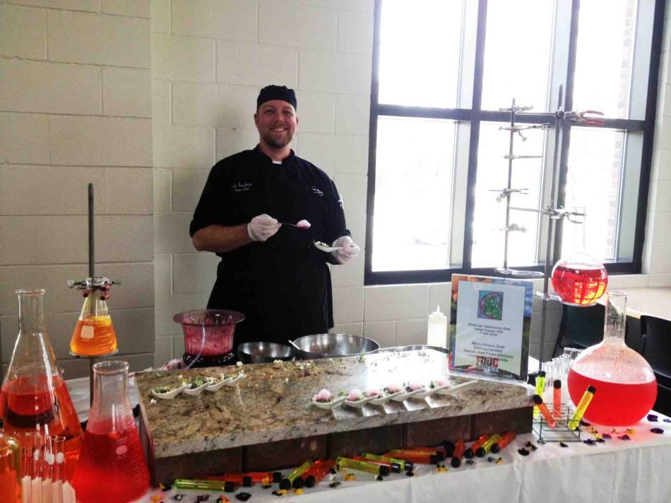"""It's a micro green salad which is like little baby lettuces and then we have candied walnuts ground up, then we have goat cheese, and champagne honey vinaigrette, with a beet foam on top,"" St. Paul Academy and Summit School Sous Chef Erik said."