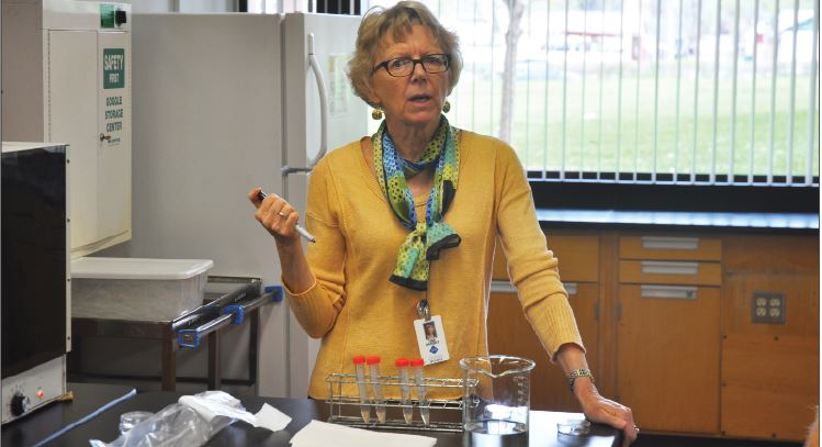 """Upper School biology teacher Tina Barsky will miss interacting with her students. """"It's heart warming,"""" she said."""