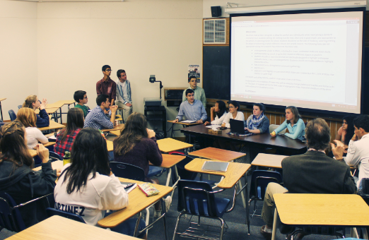 """Upper school council  MEMBERS pictured (L to R) Lukas Kelsey-Friedemann, Breandon Gibbons, Shaan Bijwadia, Jack Labovitz, Raffi Toghramadjian, Thomas Toghramadjian, Diane Huang, Numi Katz, Claire Walsh, Moira McCarthy, Neerja Thakkar, and Jordan Moradian facilatate a discussion on the future revisions to the dress code with a panel of student body members.""""I don't think that anyone has taken a good, serious look at [the dress code] in I don't know how long,"""" US Principal Chris Hughes said."""