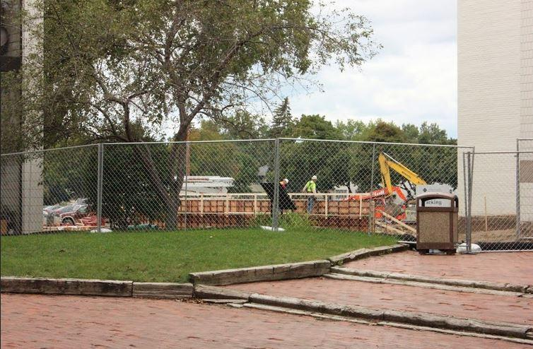 Construction on the Randolph Campus continues during the school day.