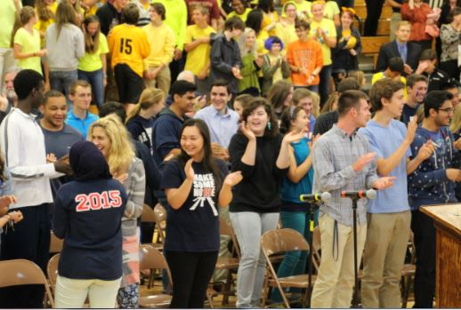 The class of '15 does the Spartan Beat at last year's 2014-15 Homecoming Kickoff.