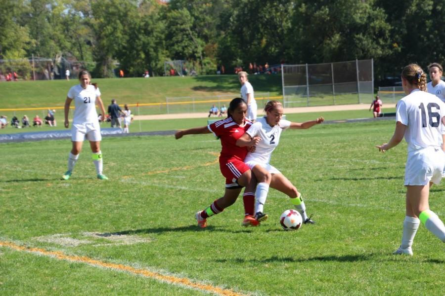 Senior Molly Fiedler defends the ball during a season game.  The GVS plays @ SPA today at 4:30.