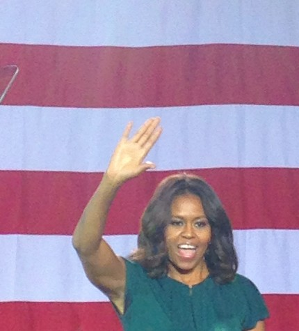 First Lady Michelle Obama encourages democrats to vote on Nov. 4.
