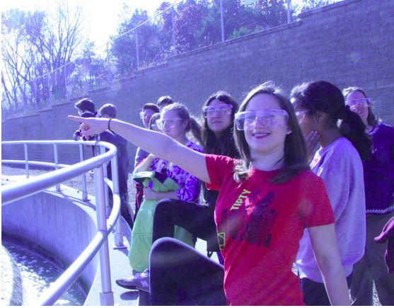 Senior Sophia Harrison enjoys touring the wasewater plant.
