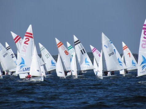 """Sophomore Jack Indritz (in boat #2 on the left) sailed in a Regatta in Minnetonka in early September.  """"I have sailed with really cool people, like exchange students from Europe,"""" Indritz said."""