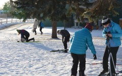 """The nordic ski team practices on the St. Paul Academy and Summit School campus on Nov 17. """"As a team, we all have personalities that get along with each other...it creates a really great environment,"""" freshman Val Hart said. The team has a meet on Dec 4  at 3:45 at Elm Creek."""
