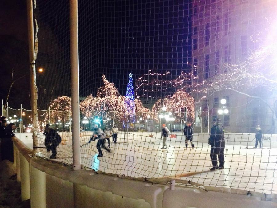 "People come together for a fun hockey game at Wells Fargo Winter Skate. ""The lights are really pretty, you feel like you're in a winter wonderland,"" Freshman Ellie Findell said."