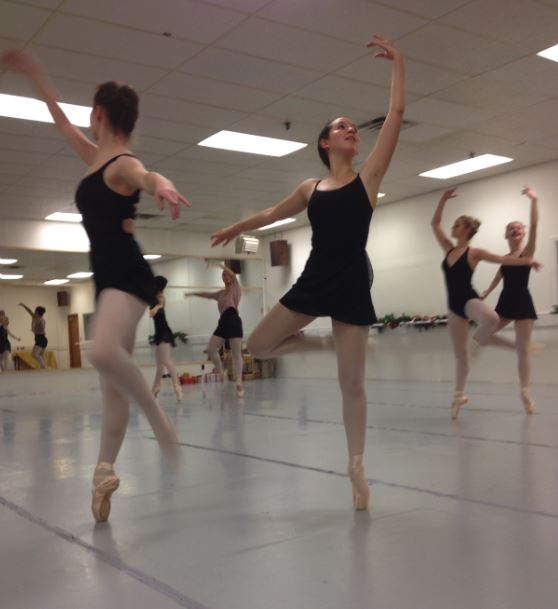 """JUnior nina zietlow rehearses the flower corps dance for Clara's Dream. """"It takes a lot of work because [in the picture] the part I'm doing you have to do with your partner, and to stay together and be in sync while still being expressive with the movement is hard,"""" Zietlow said."""