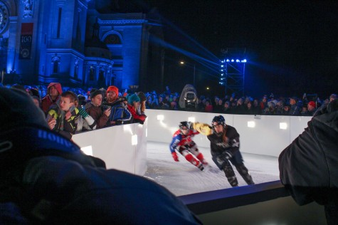 Competitors in Crashed Ice are judged by their performance.
