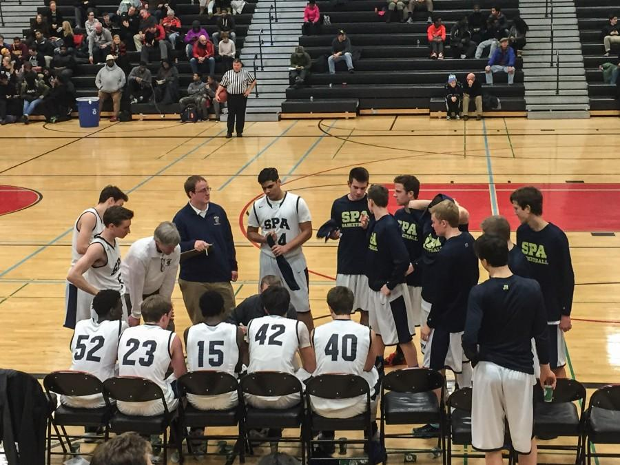 """The team meets during half time. """"It's good to beat a good team. Central made it to state last year and they are a good team. We've also had a bunch of close losses, so it is also good to get back winning,"""