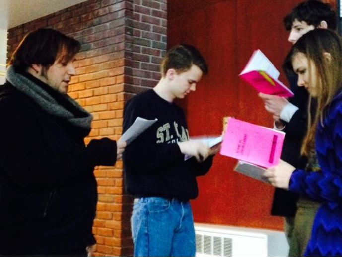 Senior Halsey Moe and junior Jack Romans practice their lines for the upcoming student directed annual MSHSL one act competition.