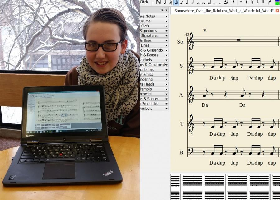 """Freshman John Gisselquist arranges his music on MuseScore, a free composition and notation program. """"My family is a very musical family and so I've been playing piano since first grade, violin for a while along with several other instruments, so I've been around music my whole life,"""" Gisselquist said."""