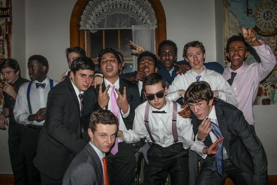 Seniors Louie Bogolub and Haris Hussain, and juniors Charlie Hooley, Lukas Kelsey-Friedemann, Jon Riley, and Ryan Peacock pose for the camera.