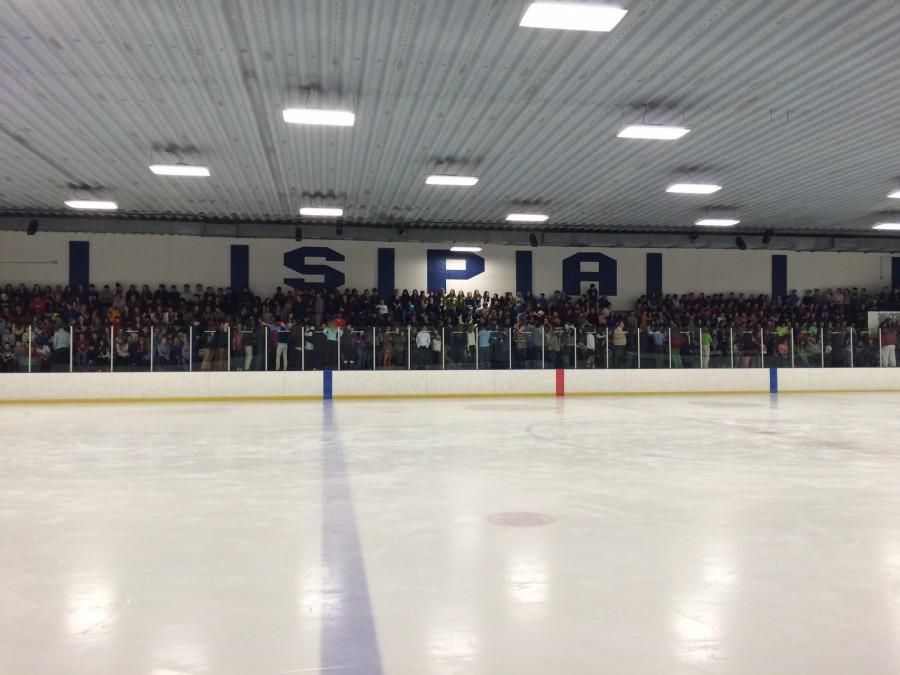 Upper and Middle School students fill the stands at Drake Arena on Feb. 24 during the fire evacuation.