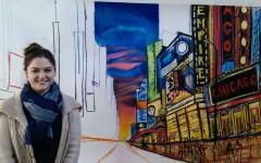 Senior Eva Zaydman poses with a work in progress of New York City.