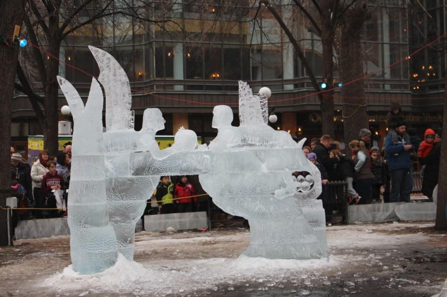 "THE ice sculpting competition at Rice Park drew huge crowds. ""When my family and I first moved to Minnesota we went to Rice Park during the Winter Carnival because we thought it would give us a good idea of what Minnesota is like,"" sophomore Genevieve Zanaska said."
