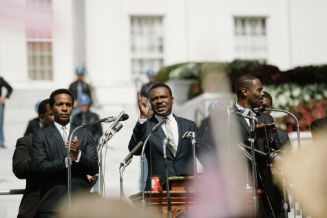Dr. Martin Luther King Jr. (David Oyelowo) addresses protesters.
