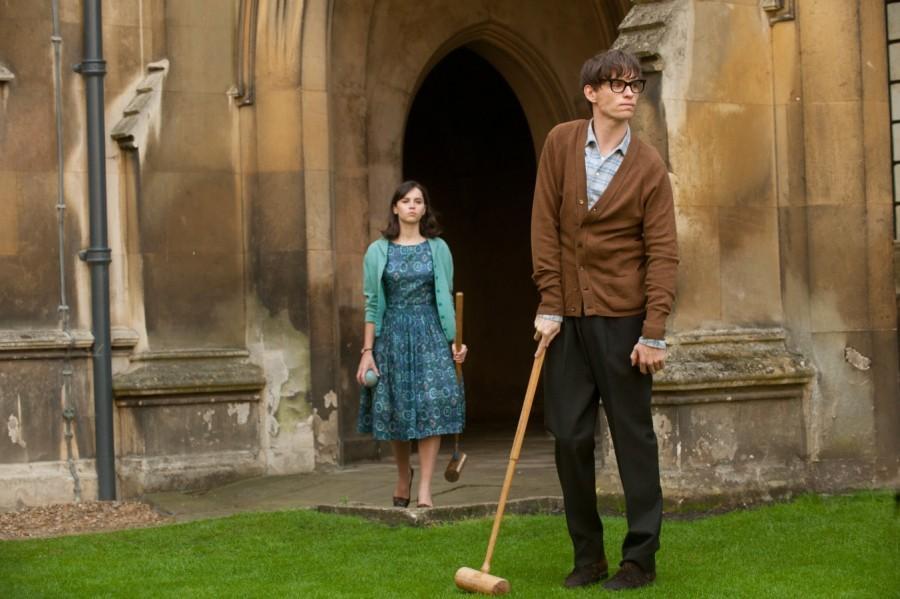 Eddie Redmayne and Felicity Jones star as Stephen Hawking and Jane Wilde in The Theory of Everything.