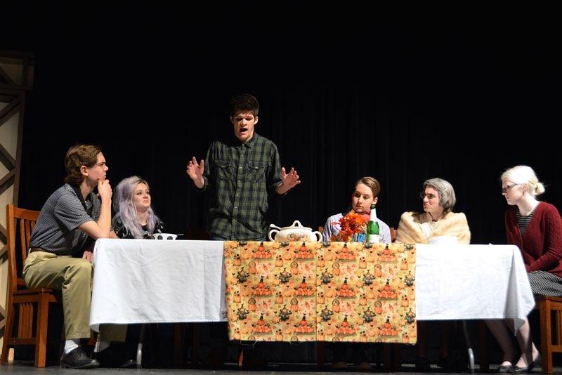 Senior Jackson Lea stars as Jimmy in Jimmy the Antichrist. From left to right: Senior Nick Koch, sophomore Emily Schoonover, senior Jackson Lea, freshman John Gisselquist, sophomore Cole Thompson, sophomore Sarah Wheaton.