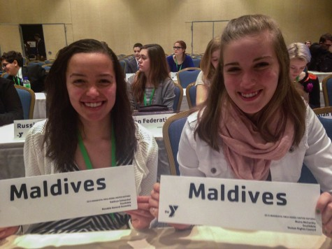 Sophomores Kathryn Schmechel and Moira McCarthy represented the Maldives at this year's Model United Nations.
