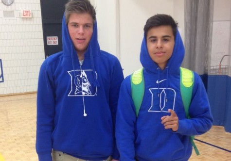 "Sophomore Layne Carry and Freshman Connor Brattland show off their Duke University sweatshirts. ""I am very happy to be reppin' my team [Duke] and am glad they won!"" freshman Connor Brattland said."