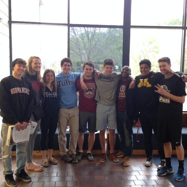 Future+College+athletes+show+off+their+gear++From+the+left%2C+seniors+Andrew+Chuniard%2C+Nancy+Moyers%2C+Mary+Naas%2C+Jordan+Moradian%2C+Isaac+Forsgren%2C+Jackson+Lea%2C+Dozie+Nwaneri%2C+Haris+Hussein%2C+and+Dean+Isaacson+pose+with+their+future+college+gear.+The+entirety+group+will+be+playing+sports+in+their+freshman+years+%E2%80%9CI+really+enjoy+playing+soccer+and+I+really+wanted+to+continue+playing+soccer+at+a+high+level%2C%E2%80%9D+Senior+Isaac+Forsgren+said.
