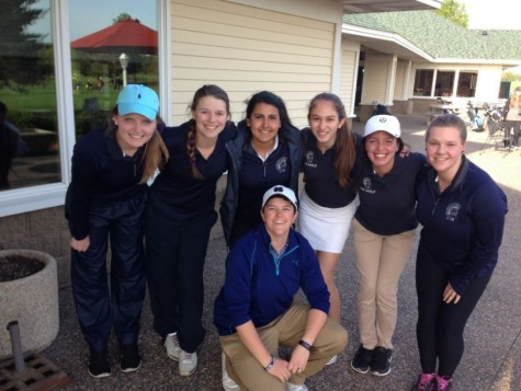 "Members of the SPA girls varsity golf team pose for a team photo after their final regular season match at River Oaks Golf Course. The team is currently ranked fourth in the Independent Metro Athletic Conference. ""The matches have been really fun this season. There's a really positive team environment,"" sophomore golfer Kathryn Schmechel said."