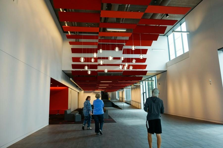 The Huss Center features decorative red paneling and lights.