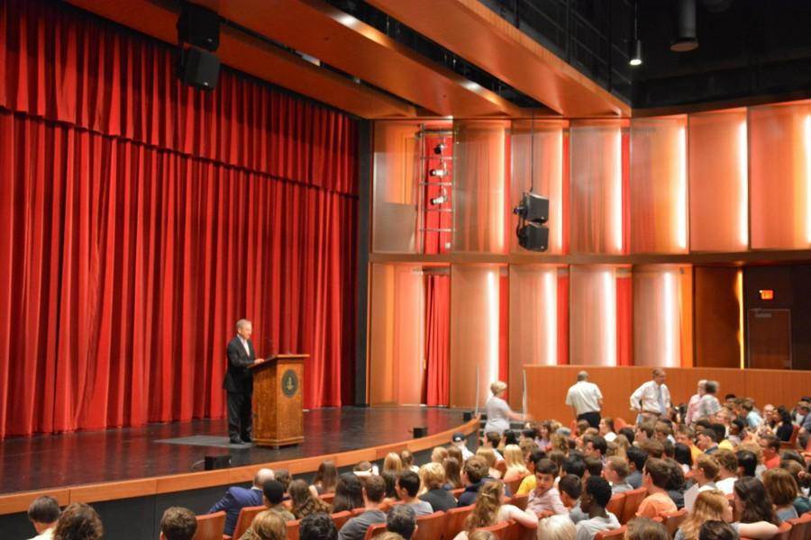 Head of School Bryn Roberts addresses the SPA community during the assembly in the Huss Center for Performing Arts.