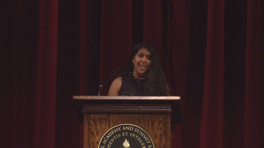 Senior Gitanjali Raman's speech discussed her journey of trying to rediscover her adventerous spirit that she possessed as a child.