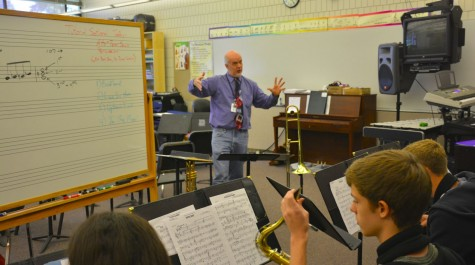 Jazz Ensemble director Randy Reid conducting during class.
