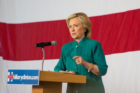 Hillary Clinton speaks to a crowd at the Iowa State Fairgrounds in Des Moines, IA on June 14, 2015. Clinton was one of  five democratic presidential candidates who debated on Oct. 13. Clinton discussed plans to lower college tuition costs,