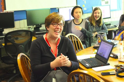 """The Rubicon and RubicOnline adviser Kathryn Campbell receives the Journalism Educator of the Year award. """"Journalism is so exciting and it is constantly changing. I feel very fortunate as a teacher that I chose a discipline where I'm never bored,"""" Campbell said."""
