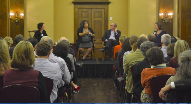 """Moderator Sasha Aslanian ('86) facilitated the discussion between Catherine McKenzie ('88), Dave Kansas ('85), and Andrea Scott ('79) at the Speaker Series at the Minneapolis Club on Oct. 22. """"Journalism isn't going anywhere,"""" McKenzie said, """"but how we practice it may change."""""""