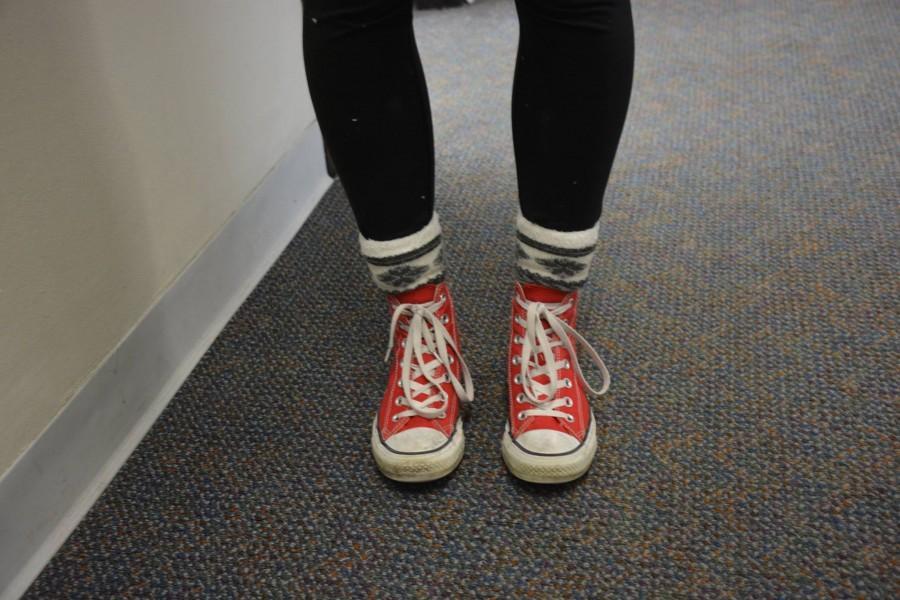 Freshman Adelia Bergner wears bright red Converse.
