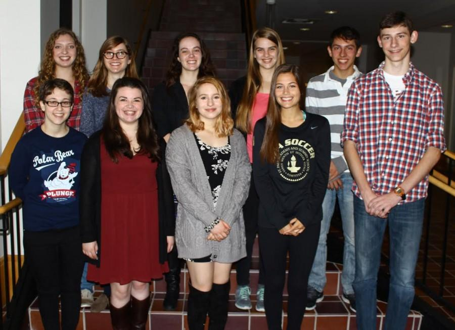 """Senior Cum Laude society inductees pose for a group photo. """"Ive been in classes with all of these people before, and theyre all smart and good students, senior George Stiffman said."""
