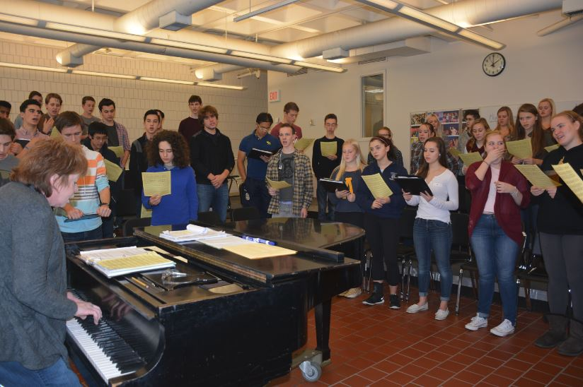 "THE ACADEMY CHORALE rehearses in preparation for the Dec. 4-5 Pops Concert. [The Huss Center] is a huge beautiful hall with incredible acoustics,"" director of SPA choral activities Anne Klus said."
