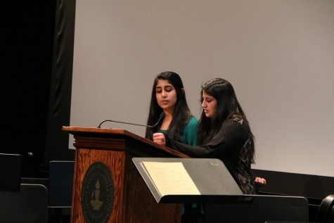 "Freshman Mashal Naqvi and junior Tabeer Naqvi present their plans for a book drive  for Pakistani schoolgirls through an organization called CARE. ""Education has always been an important thing in our family and Pakistan is close to the heart... that's where our roots are,""  Tabeer Naqvi said."